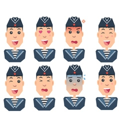 Sailors set of emotions vector
