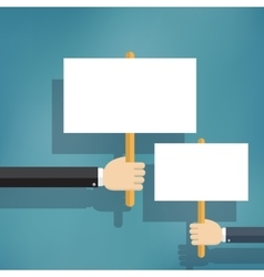 Hands holding blank protest boards vector