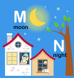 Alphabet letter m-moon n-night vector