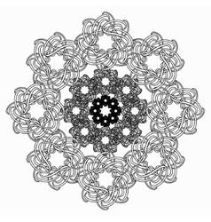 Black line geometric flower circular pattern on vector
