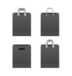 Black paper shopping bag set vector