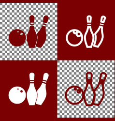 bowling sign bordo and white vector image
