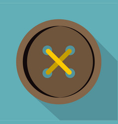 Brown clothing button icon flat style vector