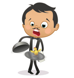 Cartoon astonished maitre finding a live chicken vector