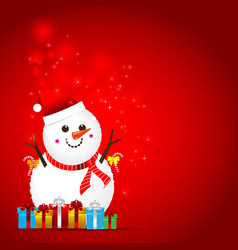 Christmas snow man on the red background vector image vector image