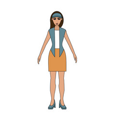 Color image cartoon full body woman with jacket vector