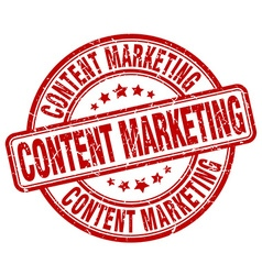Content marketing red grunge round vintage rubber vector