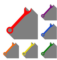 crossed wrenches sign set of red orange yellow vector image