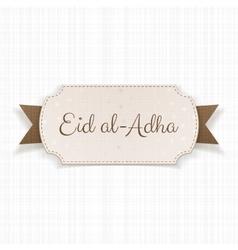 Eid al-adha text on paper badge vector
