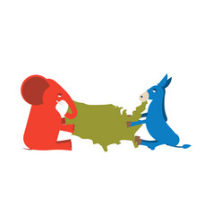 Elephant and donkey divided map of america usa vector