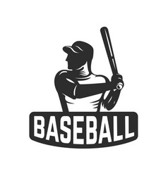 emblem template with baseball player design vector image vector image