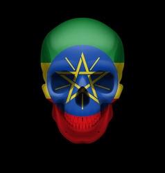Ethiopian flag skull vector