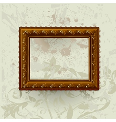 gilded frame on grunge wall vector image vector image