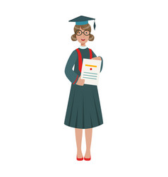 Graduated student girl in cap gown showing diploma vector
