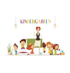 Kindergarden teacher with kids cartoon vector