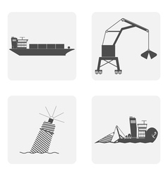 Monochrome icon set with port ship fisherman vector