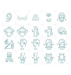 Plastic surgery icons breast augmentation vector image