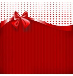 Red Ribbon and Bow on red paper texture background vector image