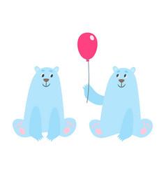 set of cartoon polar bears vector image