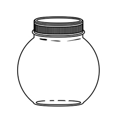 silhouette circular glass container with lid vector image vector image