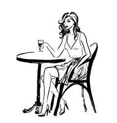 sitting woman in cafe vector image vector image
