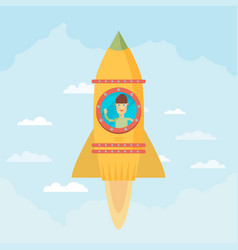 Startup business flat design man in a rocket vector