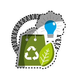 Sticker green bag with recycle sign bulb and leaf vector