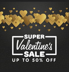 valentines day sale lettering with hearts on the vector image vector image