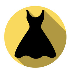 Woman dress sign flat black icon with vector