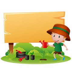 wooden sign with boy watering plant vector image vector image
