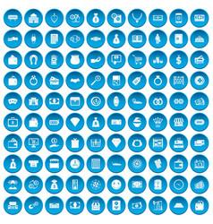 100 money icons set blue vector