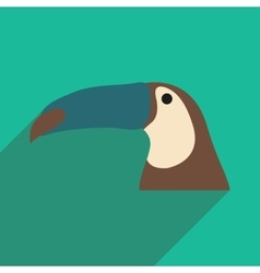 Flat icon with long shadow brazilian toucan vector