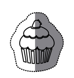 Figure muffin with strawberry icon vector