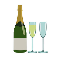 Bottle of champagne and glasses vector