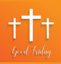 Cross for good friday on orange background vector