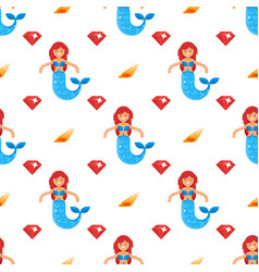 Flat style seamless pattern with mermaid vector