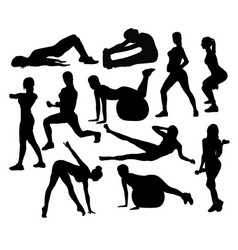 Fitness exercises activity silhouettes vector