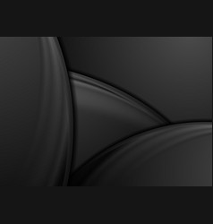 Abstract black smooth waves background vector