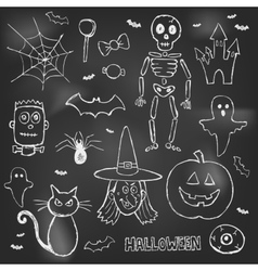 Halloween hand drawn doodles over black board vector