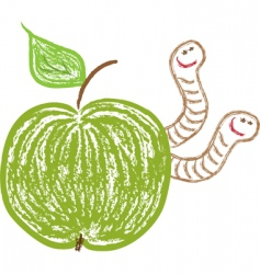 Apple with worms vector