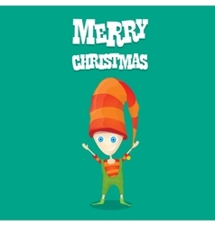 Cartoon cute happy christmas elf vector