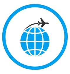 International flight circled icon vector