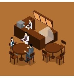 Waitress barista people isometric brown poster vector