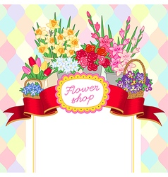 Flower shop color price vector