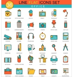 Office flat line icon set modern elegant vector