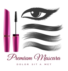 Woman black mascara vector