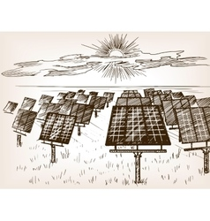 Solar power plant sketch vector