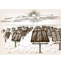 Solar power plant sketch vector