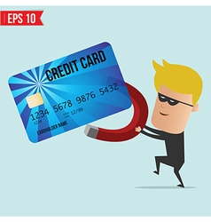 A thief use magnet steal credit card vector