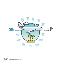Air travelling airplane flight concept with vector